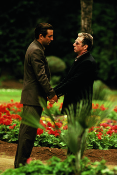 The Godfather III - behind the scenes - Vincent (Andy Garcia) is groomed to take over the Corleone family from Michael (Al Pacino). Andy Garcia, Al Pacino, Marlon Brando, The Godfather Part Iii, Godfather Movie, Corleone Family, Don Corleone, Tony Soprano, Martin Scorsese