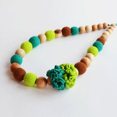 Lime Leafy Cocoa Mum Flower Necklace, Organic Baby Gifts, Newborn Baby Sling, Children Crochet Toy, Toddler Teething Toy, Waldorf Wood Toys #ShowerStuff