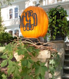 Love this metal Monogrammed Pumpkin on Nell Hill's Blog!