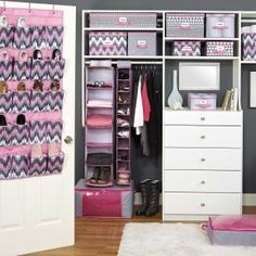 Closet organisation. Not a fan of the color scheme, but good storage solution.