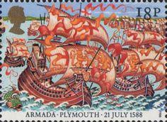 400th Anniversary of Spanish Armada 18p Stamp (1988) English Fleet leaving Plymouth