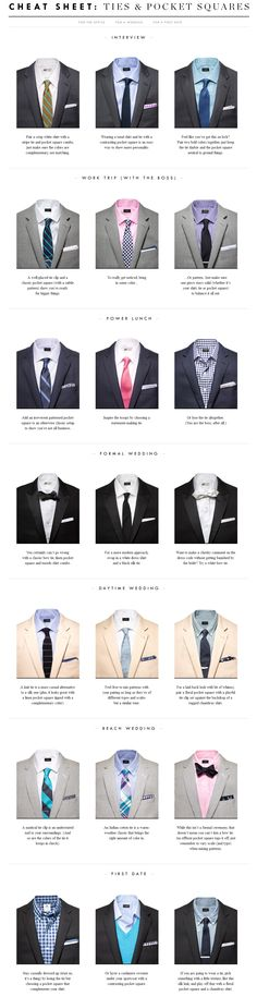 Tie & Pocket Square Cheat Sheet // lifted from @J.Crew's website  What I love about this is people always think that men's styles are limited because there aren't as many types of clothes as women but this is a perfect example of how many styles men can actually have.