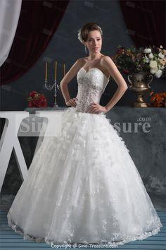 White Apple Empire Sweetheart Church Ball Gown Wedding Dresses