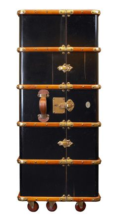 A throwback to an era when travel was just as much about the journey as the destination, our First Class Traveling Closet is styled after a ninteenth-century wheeled stateroom armoire. A flick of the b...  Find the First Class Traveling Closet, as seen in the Around the Globe with Steampunk Style Collection at http://dotandbo.com/collections/around-the-globe-with-steampunk-style?utm_source=pinterest&utm_medium=organic&db_sku=116976