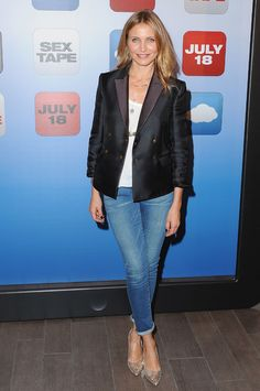 Cameron Diaz in Frame denim and a blazer by The Row