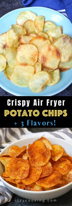 Recipes Snacks 3 Ingredients Crispy and healthy homemade Air Fryer Potato Chips made with only 3 ingredients. No oil needed! Season them up the way you like. This crunchy snack tastes so good and you'll never buy store-bought potato chips again! Air Fryer Recipes Snacks, Air Frier Recipes, Air Fryer Dinner Recipes, Air Fryer Recipes No Oil, Air Fryer Recipes Potatoes, Air Fryer Recipes Breakfast, Air Fryer Potato Chips, Oven Potato Chips, Gourmet