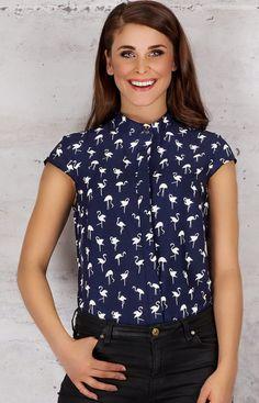 Infinite You M061 koszula granat flamingi Stylowa bluzka
