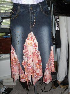 Upcycled clothing skirt Gypsy skirt Hippie Skirt Tattered skirt goth recycled  upcycled eco friendly denim jean skirt size 7