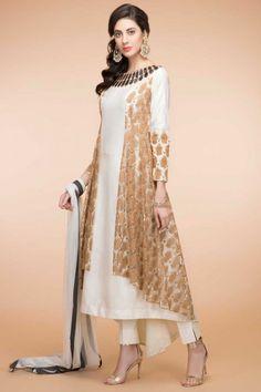 White Silk And Taffeta Trail Cut Trouser Suit With Dupatta Latest Kurti Design LATEST KURTI DESIGN | IN.PINTEREST.COM FASHION EDUCRATSWEB
