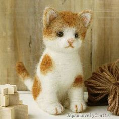 Japanese Needle Wool Felt Mascot DIY Kit - Brown Cat - Sachiko Susa - Kawaii Hamanaka - JapanLovelyCrafts