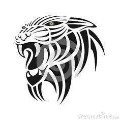 Silhueta preta do tigre em um fundo branco
