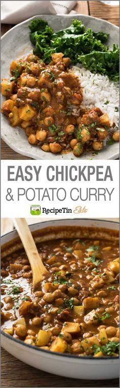 Chickpea Curry with Potato (Chana Aloo Curry) Chickpea Potato Curry – an authentic recipe that's so easy, made from scratch, no hunting down unusual ingredients. Curry Recipes, Veggie Recipes, Indian Food Recipes, Whole Food Recipes, Vegetarian Recipes, Dinner Recipes, Chicken Recipes, Cooking Recipes, Healthy Recipes