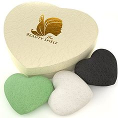 Konjac Sponge (3 Pack) Charcoal, Green Tea & Natural Facial Cleansing & Exfoliating Beauty Sponges | shopswell