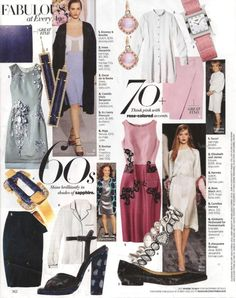 Rose-colored accents are the style recommendation for stylish women of a certain age in the September 2012 issue of Harper's Bazaar. Pictured are rose gold and gemstone earrings from Tacori and a pink-strapped wristwatch from Hermès, along with a diamond bracelet from Kimberly McDonald for Forevermark that does not appear to include the pink hue. On the left side of the page, sapphire blue is the color highlighted. Pictured are long rectangular earrings from Irene Neuwirth and a bracelet…