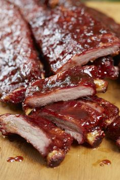 RECIPE: TENDER BBQ PINEAPPLE PORK RIBS - 2 racks St Louis pork ribs. 2 Tbs sesame oil, 4 tsp soy sauce, 1/2 C pineapple juice, 1 Tbs red pepper flake, 1/4 tsp ginger & garlic powder, 1/2 C brown sugar, 1 tsp onion flake, 1/4 tsp onion powder. Bake in oven, meat side up, at 250 degrees F for 2 1/2 hours. Place meat side up on a medium (250 degree) charcoal grill for 1 hr. for smokey flavor. Finally anoint meat for 15 minutes, flipping & glazing with sauce. Let rest 10 minutes. Serves 6-8.