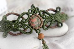 Мicro macrame bracelet with unakite ; boho style; bohemian; forest; fairy pixie elvian