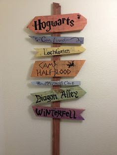 The fantasy direction sign I made for our house!  www.apassionateadventure.blogspot.com