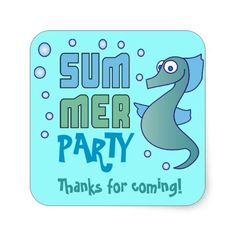 Summer Party Seahorse with Bubble Invitations Personalized Invites Thank You Stickers, Make Your Own, Party Time, Bubbles, Birthday Parties, Invitations, Summer, Gifts, Birthday Celebrations