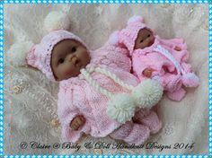 "Poncho Set for 5 & 8"" Chubby Berenguer dolls-babydoll handknit designs, knitting pattern, berenguer, doll, lots to love"