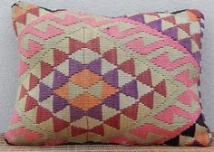 $30 - 18'' X 24'' FADED PINK ORANGE & MINT GREEN COLORED KILIM RUG THROW PILLOW COVER - Small (3x5 and smaller)