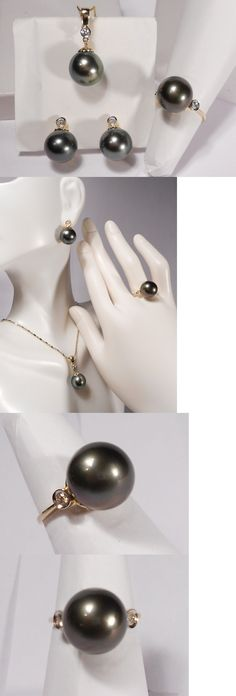 Pearl 164327: Tahitian Black Pearl Set(Ring,Earrings,Pendant), Diamonds, Solid 14K Yellow Gold -> BUY IT NOW ONLY: $945 on eBay!