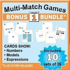 Win 10 Grade 1 Card Sets for Addition, Time, Geometry & More! Enter for your chance to win 1 of 3.  BONUS Bundle: Grade 1 Multi-Match Math Games for Common Core (110 pages) from K-8 MathPaths on TeachersNotebook.com (Ends on on 5-16-2015)  Kids love to match cards that show numbers, models, and expressions as they do activities and games. This BUNDLE includes 10 sets of 36 cards. Try the FREE preview. Please browse time-saving math products in my shop, which is in in the TOP TEN thanks to…