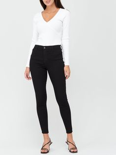 V by Very Premium Super High Waist Jeggings - Black | littlewoodsireland.ie High Waist Jeggings, Shape Wear, Fit 30, Skinny Fit, Stretch Denim, Recovery, Black Jeans, Pockets, Legs