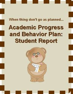 FREE Academic Progress and Behavior Report~ Easy-to-Use single page behavior log.  Students help fill it out.  Discuss, file, or send home for a parent signature.