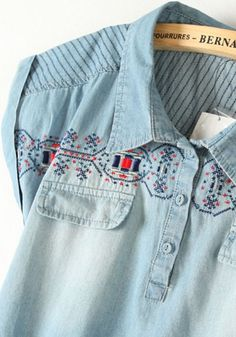 Blue Embroidery Lapel Double Pockets Denim Dress