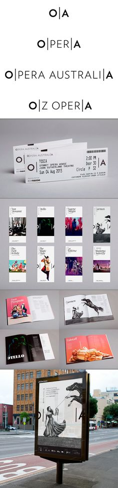 identity / opera australia - This is one of my favourite identities because of the clear concept behind it and the simplicity with which it has been carried out. The simple idea of a curtain opening and closing has created a brand which is extremely versatile and very recognisable.