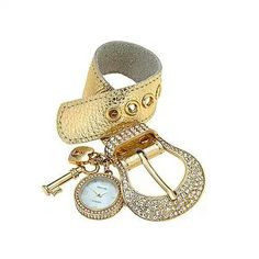 """Charming Time 7.""""-8.5"""" Rhinestone Charm Watch $38. Also comes in gray & Silver, Get yours at www.tracilynnjewelry.net/jamiebennett Today!"""