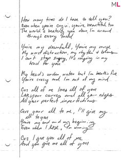 "John Legend's Handwritten ""All Of Me"""