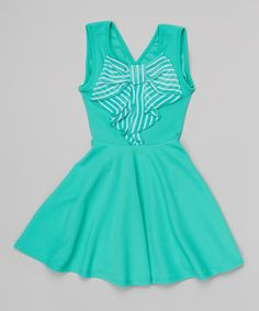 Look at this #zulilyfind! Mint Bow Skater Dress - Toddler & Girls by Just Kids #zulilyfinds