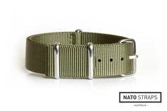 NATO Strap Solid Khaki Green 18mm