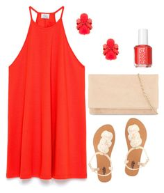 """""""the lady in red"""" by preppyleague ❤ liked on Polyvore featuring Zara, Charlotte Russe, Kate Spade, Karen Millen, Essie, red, dress, preppy and roses"""