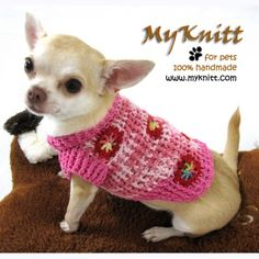 Dog sweater handmade crochet luxury design of myknitt. Very comfy to wear. Custom made are welcome. For complete collection at www.myknitt.com