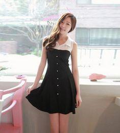 White Black Lapel Sleeveless Buttons Decor Dress @ MayKool.com
