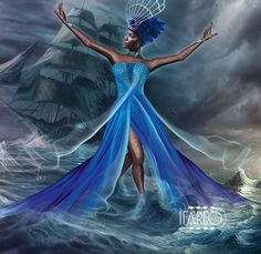 """Yemaya Ibu Okoto : This Yemaya is born in the Odun Merunla-Iroso  Ibu Okto means """" she who lives in the conches"""" . The Ocean is of blood. Presides of naval battles"""