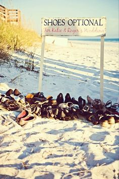 "Shoes optional or ""toes in sand allowed"" sign (no need for names)"