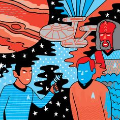 Star Trek.  One of these characters does not belong, but the art is too trippy to resist.