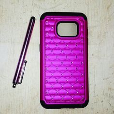Samsung Galaxy S7 Hot Pink Fuchsia Crystal Case Bling Girly Rhinestone Phone Case makes your S7 Stand out. Materials:Hybrid Plastic + Bling Rhinestone. Precise Cutouts for Improved Access to all Ports, Buttons, Cameras, Speakers and Microphone. New only opened to photograph. Please make sure that you have the phone that the case is listed for. Returns will not be accepted for the case not fitting. Thank you so very much for understanding! :) BUNDLES WELCOMED!!! smoke free home! Accessories…