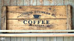Coffee sign on reclaimed wood with Funky Junk's Old Sign Stencils created by Grit Antiques