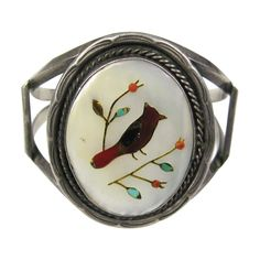 OLD Pawn Southwestern Zuni Inlaid Turquoise Coral 1950s Bracelet | From a unique collection of vintage cuff bracelets at https://www.1stdibs.com/jewelry/bracelets/cuff-bracelets/