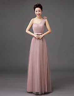 bd2b4c4a7d1f25   49.99  Sheath   Column One Shoulder Floor Length Tulle Bridesmaid Dress  with Bow(s