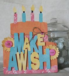 cricut, bright, birthday, card, diy