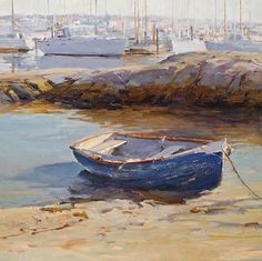 BoldBrush Painting Competition Winner - January 2014 | Blue rowboat by Deborah Tilby