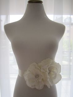 Bridal Silk Flower Lace Sash:  Wedding Belt, Lace Sash, Flower Sash, Lace wedding belt, Rhinestone Bridal Belt, Beaded Sash. $84.00, via Etsy.