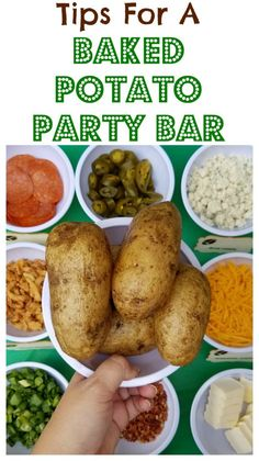 Easy Super Bowl party idea- baked potato bar with toppings along with other football party ideas Party Food Bars, Easy Party Food, Cheap Party Food, Super Bowl Party, Cooking For A Crowd, Food For A Crowd, Cooking Tips, Party Food Ideas For Adults Entertaining, Baked Potato Bar