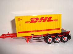 Herpa Container Auflieger 3a Chassis rot Chromfelgen & 1x20 ft. DHL Container