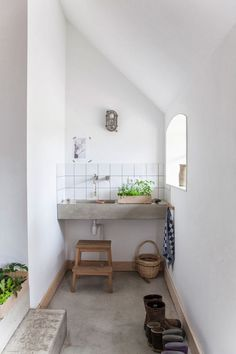 Concrete could be used for a mud room sink too! Also, if I put in a sink / potting bench then I could have a teeny water closet with a sink above the toilet cos it wouldn't be for yard hand washing! [Interiors: Wonderful Restored Farm in the Netherlands | Art And Chic]